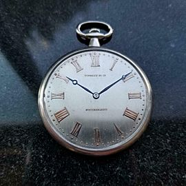 TIFFANY & CO Rare Platinum 14736 Pocket Watch 45mm, c.1930s Swiss Luxury LV980