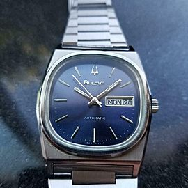 BULOVA Men's N9 Day Date Automatic Blue Dial 35mm, c.1970s Swiss Vintage TD613