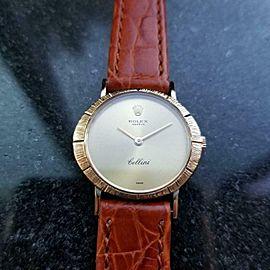 ROLEX Ladies 18k Gold Cellini 3879 Hand-Wind Dress Watch, c.1968 Swiss LV588tan