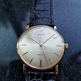 ROLEX Rare Men's 18k Gold Precision 9659 Hand-Wind, c.1950s Swiss Vintage LV682