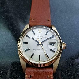 ROLEX Men's 14K Gold Oyster Date 1503 Automatic, c.1978 Swiss Vintage LV688TAN
