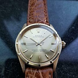 ROLEX Men's 18K Gold Oyster ref.1007 Automatic, c.1960s Swiss Luxury LV934TAN