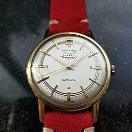 LONGINES Men's Gold-Capped Conquest Date Automatic c1970s Swiss Vintage LV563RED