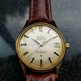 Men's Omega 18K Gold Constellation Calendar Automatic w/Date c.1960 Swiss LV662