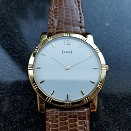 Men's Piaget 18K Solid Gold Midsize Dancer Quartz Dress Watch, c.1990s LV590TAN