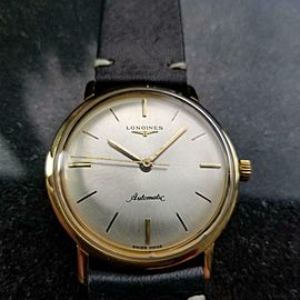 Men's Longines 18k Gold Automatic Dress Watch, c.1960s Swiss Vintage MS123BLK