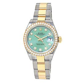 Rolex Datejust 18k Yellow Gold Steel Diamonds Automatic Green Watch 279383RBR