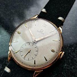 Men's Omega 18K Rose Gold cal.265 Dress Watch 37mm c.1947 Swiss Vintage MS177BLK