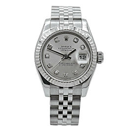 Women's Rolex DateJust Stainless Steel & White Gold, Silver Diamond Dial 179174