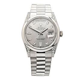 Men's Rolex Day-Date 36 Presidential Platinum, Rhodium Diamonds Dial, 118296