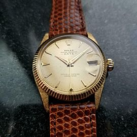 ROLEX 18k Gold Oyster Date Unisex 6627 Auto c.1962 Swiss Vintage Pre-Owned LV884