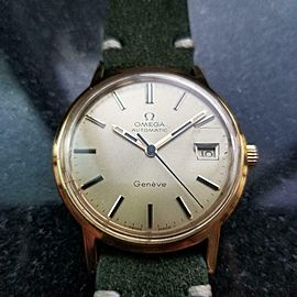 Men's Omega Gold-Capped Geneve Automatic w/Date c.1973 Swiss Vintage R1335GRN