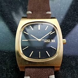 Men's Omega Geneve Gold-Plated Day Date Automatic, c.1970s Swiss Vintage J728BRN
