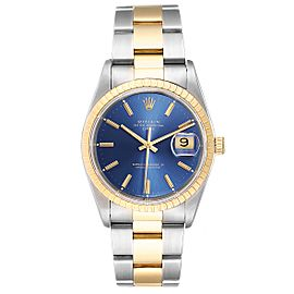 Rolex Steel Yellow Gold Blue Dial Oyster Bracelet Mens Watch 15223