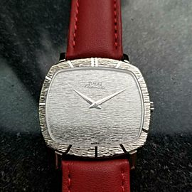 Men's Piaget 18k White Gold cal.12P1 Automatic Dress Watch 1970s Swiss LV877RED