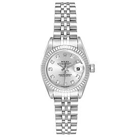 Rolex Datejust 26 Steel White Gold Silver Diamond Dial Ladies Watch 79174