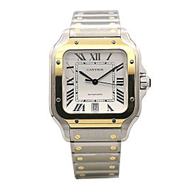 Santos De Cartier 39.8mm Steel and 18k Yellow Gold, White Dial, W2SA0006