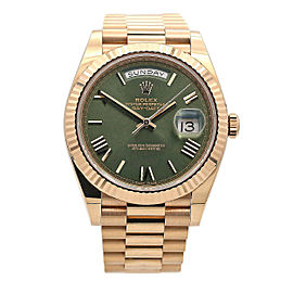 Men's Rolex Day-Date Presidential 40mm, 18k Rose Gold, Green Olive Dial, 228235