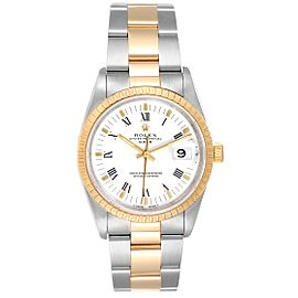 Rolex Date Mens Steel Yellow Gold White Dial Mens Watch 15223 Box Papers