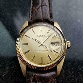 Men's Rolex 14k Gold Oyster Date 1503 Automatic, c.1979 Vintage Luxury LV802BRN