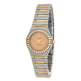 Omega Constellation 18k Yellow Gold Steel Diamond Quartz Ladies Watch 1277.10.00