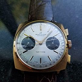 Men's Gold-Plated Breitling Top Time Chronograph Manual c.1970s Vintage LV444BRN