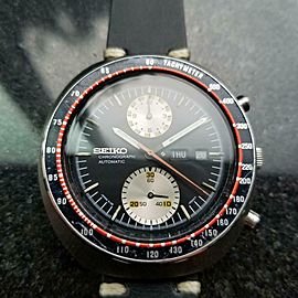 "Men's Seiko 6138 ""UFO"" Automatic Chronograph w/Day Date, 1970s Vintage GG42BLK"