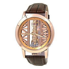 Corum Golden Bridge Round 18k Rose Gold Leather Manual Men's Watch B113/03010
