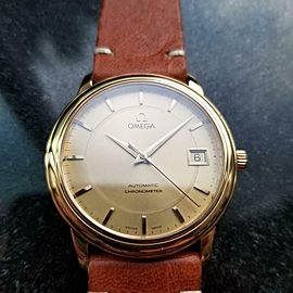 Men's Omega 18K Gold Chronometer Automatic w/Date, c.2000s Swiss Luxury LV486TAN