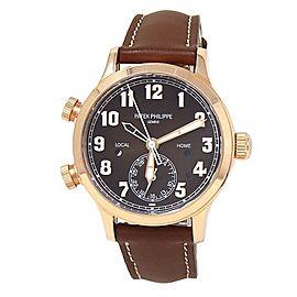 Patek Philippe Calatrava Pilot Travel Time 18k Rose Gold Men's Watch 7234R-001