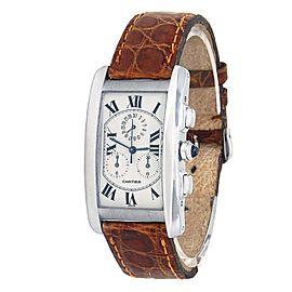Cartier Tank Americaine 18k White Gold Quartz Silver Ladies Watch W2603356