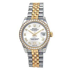Rolex Datejust 18k Yellow Gold Steel Diamonds Auto Silver Ladies Watch 178383