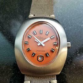 Men's Tropical Star Florida 36mm Date Automatic Orange Dial, c.1970s L91GRY
