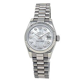Rolex Datejust 18k White Gold Diamonds Mother of Pearl Ladies Watch 179179