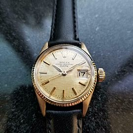 Ladies Rolex Oyster Perpetual Date Ref.6516 25mm 18k Gold Automatic 1960s LV859