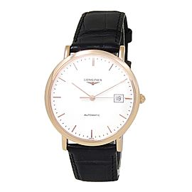 Longines La Grande Calssique 18k Rose Gold Leather White Men's Watch L4.787.8