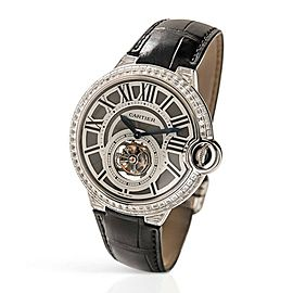 Cartier Ballon Bleu Flying Tourbillon 18k White Gold Silver Men's Watch 3089