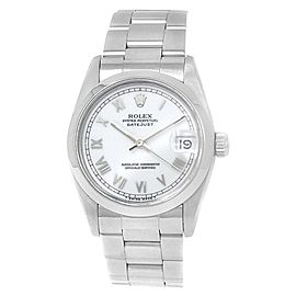 Rolex Datejust Stainless Steel Oyster Automatic White Midsize Watch 68240