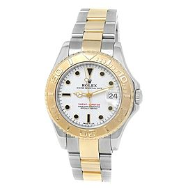Rolex Yacht-Master 18k Yellow Gold Steel Auto Oyster White Midsize Watch 68623