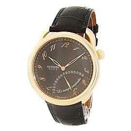 Hermes Arceau Le Temps Suspendu 18k Rose Gold Leather Brown Men's Watch AR8.97a