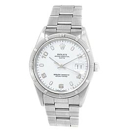 Rolex Date Stainless Steel Oyster Automatic White Men's Watch 15210