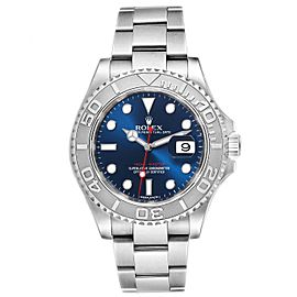 Rolex Yachtmaster 40mm Steel Platinum Blue Dial Mens Watch 116622