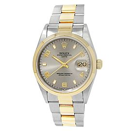 Rolex Date 18k Yellow Gold Stainless Steel Oyster Auto Grey Men's Watch 15203