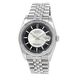 Rolex Datejust Stainless Steel Jubilee Automatic Silver Black Men's Watch 116234