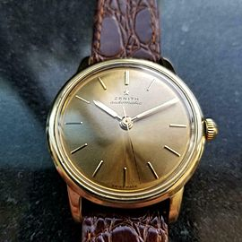 Men's Zenith 35mm 18k Solid Gold Automatic Dress Watch, c.1970s Vintage LV851
