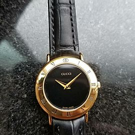 GUCCI Ladies Gold-Plated 3000.2.L Swiss Dress Watch Quartz 26mm 1990s DSI12
