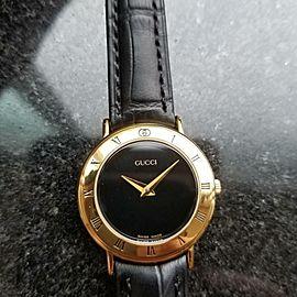 GUCCI Ladies Gold-Plated 3000.2.L Swiss Dress Watch Quartz 26mm 1990s DSI12