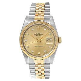 Rolex Datejust 18k Yellow Gold Steel Jubilee Diamonds Champagne Mens Watch 16233