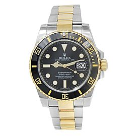Rolex Submariner 18k Yellow Gold Stainless Steel Oyster Black Men's Watch 116613