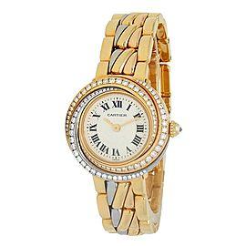 Cartier Trinity 18k Tri Gold Diamonds Quartz Silver Ladies Watch 2357